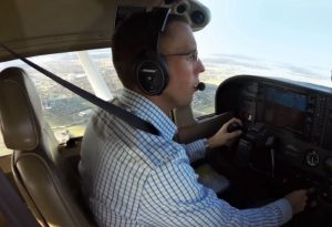 Pilot in airplane